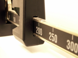 macro of a doctor's office scale